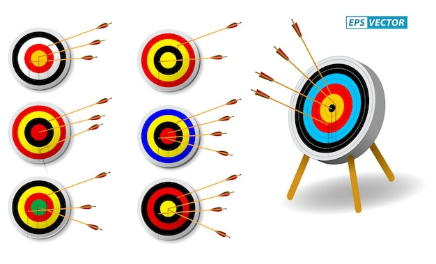 Set of archery target with arrows in white background isolated eps vector Premium Vector
