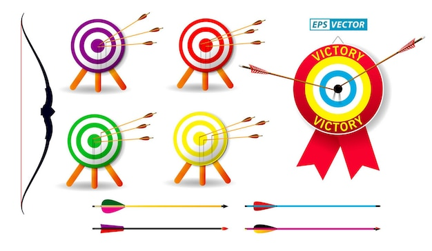 Set of archery target with arrows in white background isolated eps vector