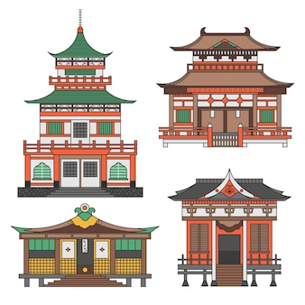 Set of architectural japanese temple