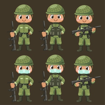 Set of army soldiers man in uniform holding rifle with difference action and stand at salute in cartoon character, isolated flat illustration