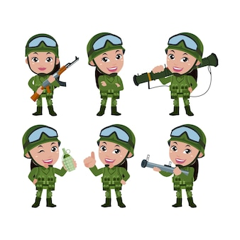 Set of army soldiers man in uniform with difference action
