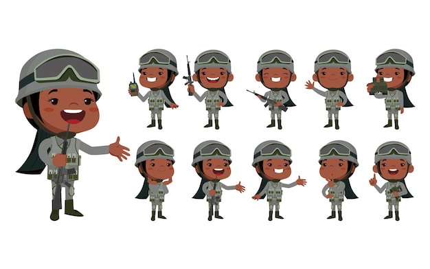 Set of army soldiers in uniform with difference action