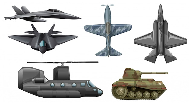 Set of army vehicles