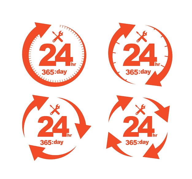 Set of arrow circle service 24hr 365 day icon