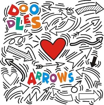 Set of arrow hand drawn design element