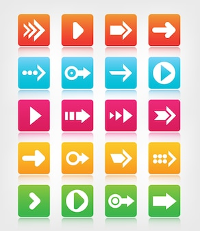 Set of arrow navigation colorful buttons, icons