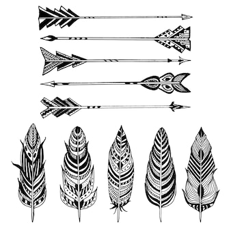Set of arrows and feathers on white