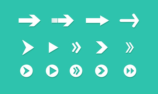 Set of arrows on green background