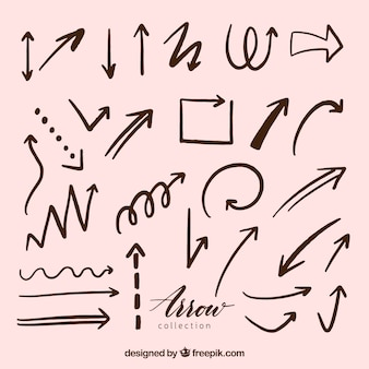 Set of arrows to mark in hand drawn style
