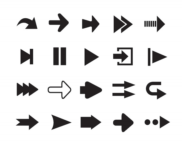 Set of arrows silhouettes