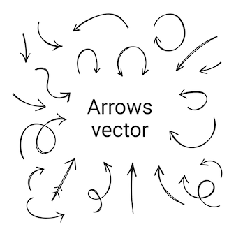 Set of arrows on white background. different elements for design. straight and curved cursors