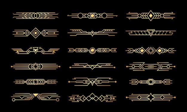 Set of art deco. abstract compositions, headers and dividers.