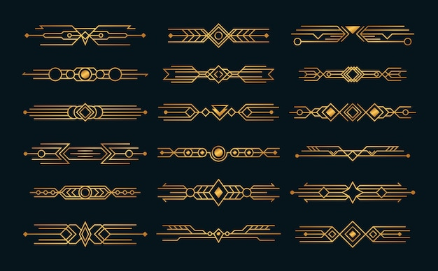 Set of art deco compositions headers style