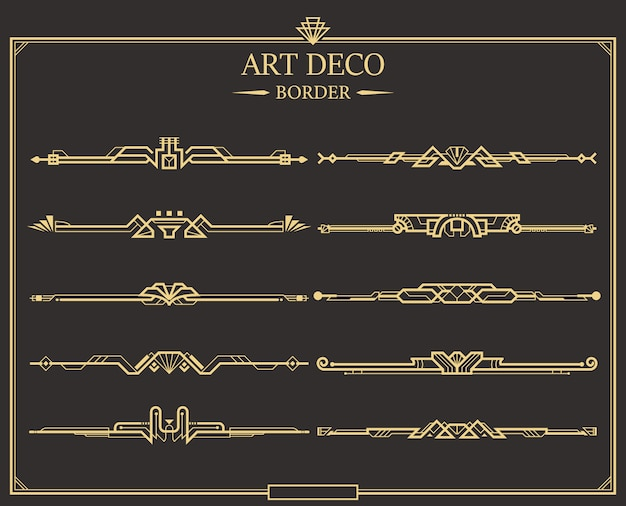 Set of art deco gold calligraphic page dividers