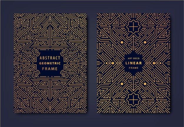 Set of art deco golden covers creative design templates trendy graphic poster gatsby brochure design packaging and branding geometric shapes ornaments element