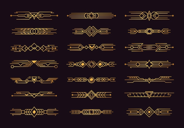 Set of art deco headers and dividers illustration design