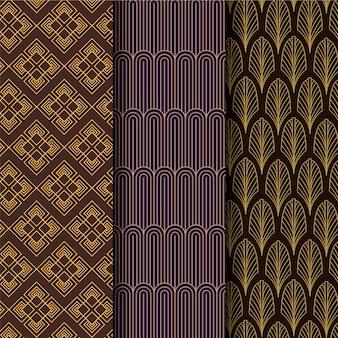 Set ofart deco seamless pattern