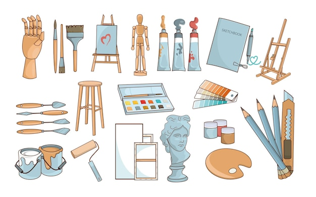 A set of art objects for drawing. the artist's tools. clipart on a white background.