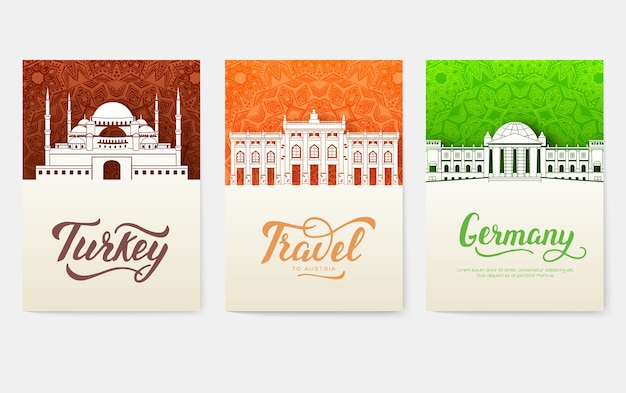 Set of art ornamental travel and architecture on ethnic floral flyers.