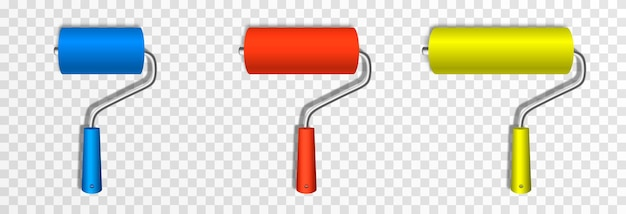 A set of art rollers of different sizes for painting construction paint rollers png