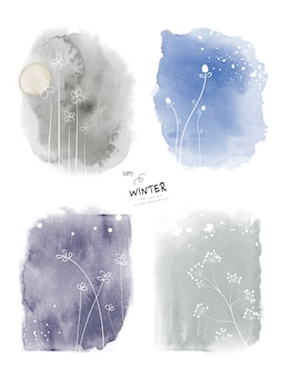 Set of art winter watercolor and doodle hand-painted background