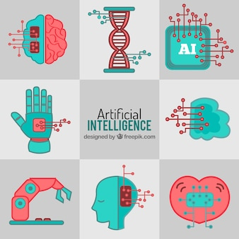 Set of artificial intelligence elements in flat design
