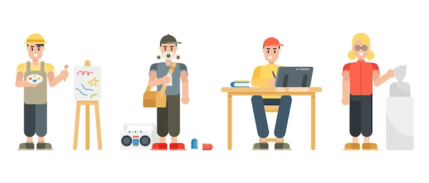 Set of artist characters. painter, graffiti, graphic designer, sculptor. modern cartoon man and woman characters in flat style.