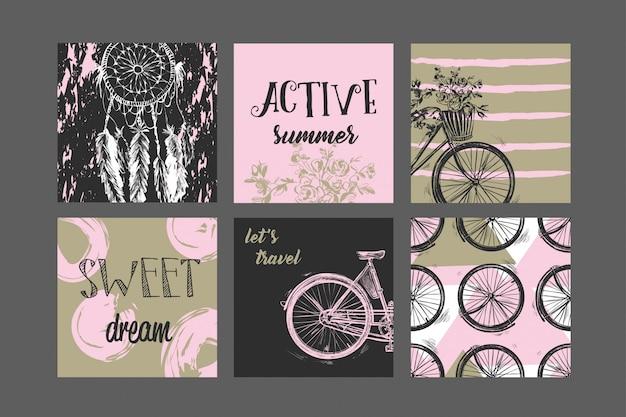 Set of artistic creative vintage cards.