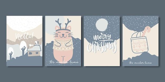 Set of artistic creative winter cards.