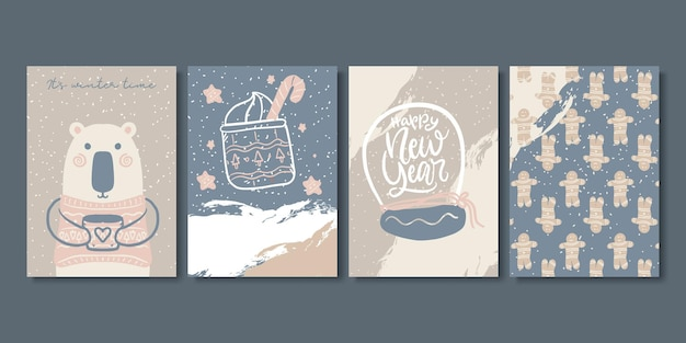 Set of artistic creative winter and christmas cards.