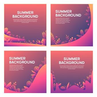 Set of artistic summer card background