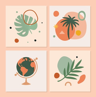Set of artistic summer vibes cards