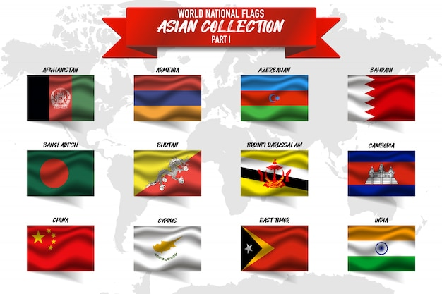 Set of asian country national flag on world map background.