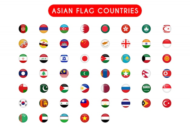 Set of asian flag countries round