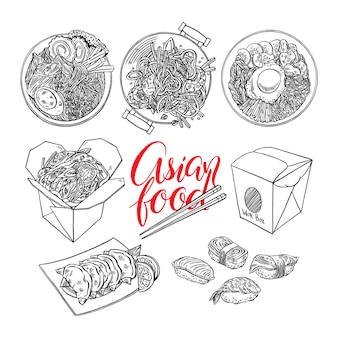 Set of asian food. bibimbap, gedza, ramen and sushi. hand-drawn illustration