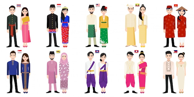Set of  asian men and women cartoon characters in traditional costume with flag