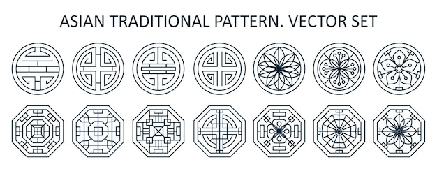 Set of asian various geometric traditional patterns