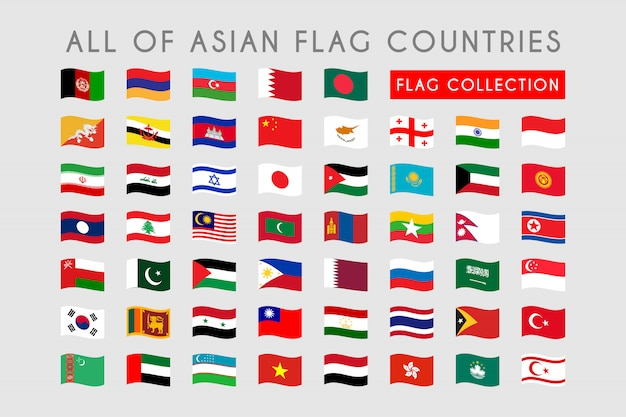 Set of asian wave flag countries