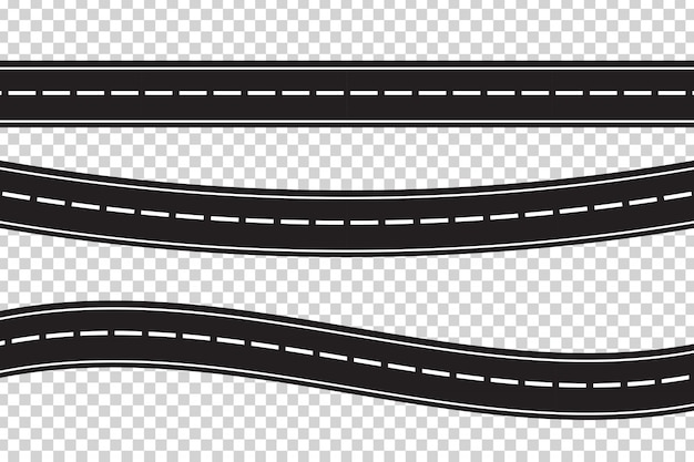Set of  asphalt roads on the transparent background. concept of logistics, journey, delivery and transportation.