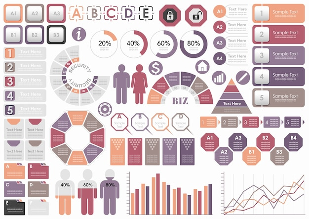 Set of assorted business-related infographic