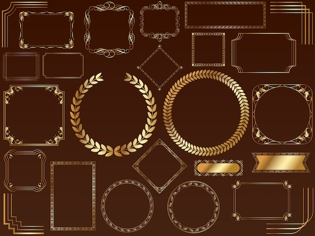 A set of assorted gold frames. (without sample text)