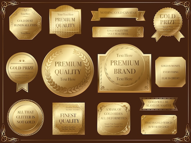 A set of assorted gold labels.