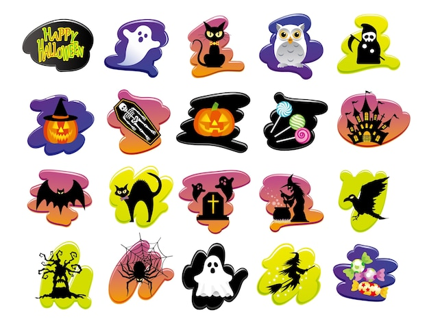 Set of assorted happy halloween user interface icons