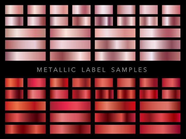 Set of assorted metallic label samples
