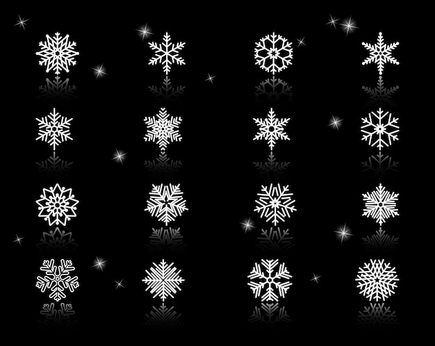 Set of assorted white snowflakes icons on black background with sparks.