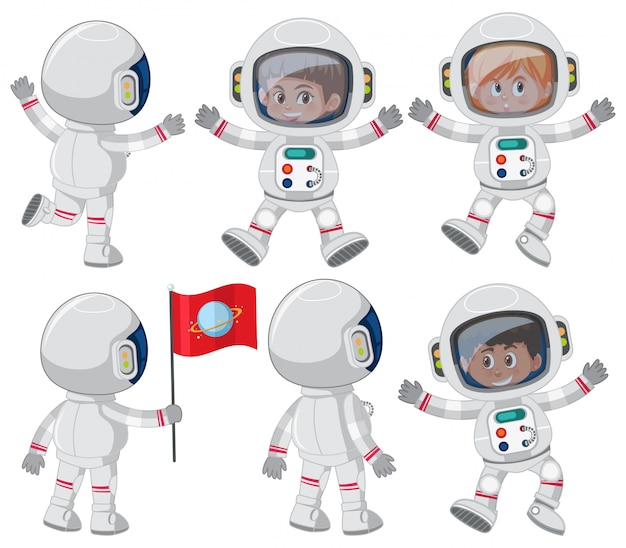 Set of astronaut character