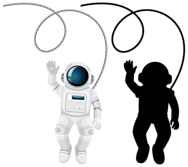 Set of astronaut characters and its silhouette on white background