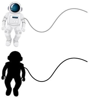 Set di personaggi di astronauta e la sua silhouette su sfondo bianco