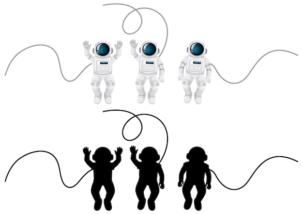 Set of astronaut characters and its silhouette on white