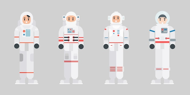 Set of astronaut characters. modern cartoon spaceman character in flat style.